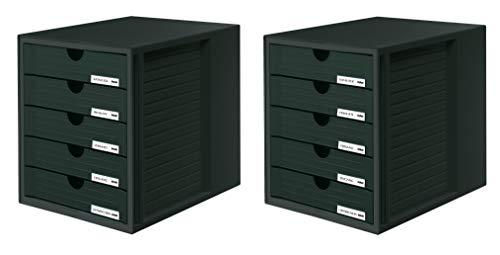 HAN Schubladenbox SYSTEMBOX 1450-13 in Schwarz - Ordnungsbox DIN A4 - Aufbewahrungsbox mit geschlossenen Schubladen 2er Set