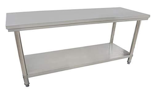 Beeketal 'BA180' Gastronomie Edelstahl Arbeitstisch 180 x 60 cm, Tisch bis 160 kg belastbar, Profi Gastro Küchentisch mit extra großer unteren Ablagefläche und justierbaren Stellfüßen -