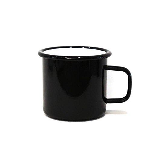 anaan Tang Emaille Tasse schwarz Becher Mug für Kaffee Tee Metall Edelstahl Trinkbecher Spülmaschinenfest Outdoor Camping feuerfeste 450ml