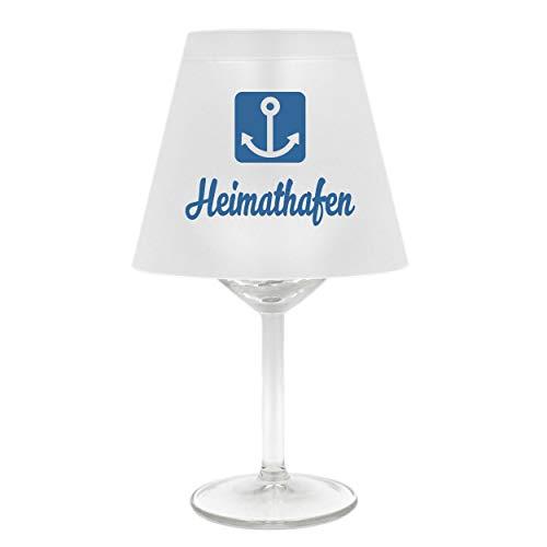nschirm für Weinglas ~ Heimathafen mit Anker, blau ~ Schirm ohne Glas ~ Windlicht ()