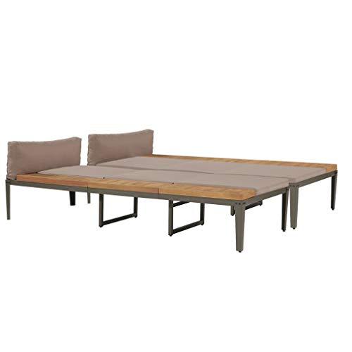 Festnight- 2 STK.Sonnenliegen mit Polstern Lounge Liegestuhl Gartenliege Gartenmöbel | Holz & Stahl | Verstellbare Rückenlehne | Massivholz Akazie 200 x 160 x (36-80) cm