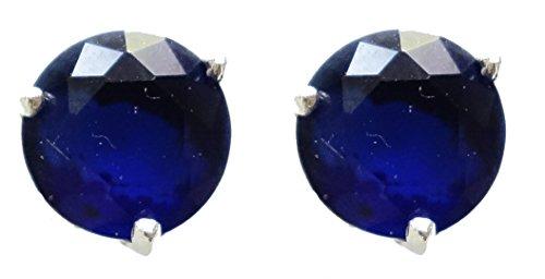 ORECCHINI argento sterling 925 ORECCHINO BRACCIALETTO 7MM ROTONDA BLU pietra preziosa dello zaffiro