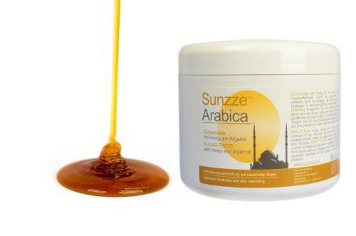Sunzze Arabica Natur Zuckerpaste SUGARING mit Honig und Arganöl. Sanft und glatt bis 4 Wochen - Dose 500gr - Intimbereich, Achseln und Körper.