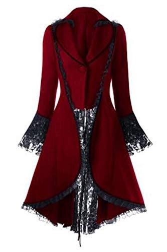 Chaqueta De Esmoquin De Halloween Corsé Steampunk Gótico Victoriano para Mujer Rojo M