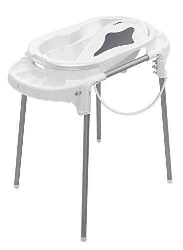 Rotho Babydesign Badeset mit Wanne und höhenverstellbarem Funktionsständer, 0-12 Monate, Weiß, TOP Badestation, 21042000101