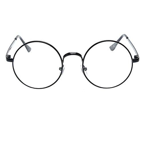 Meijunter Klassisches Retro- Metall Großer Kasten runder Kreis-Rahmen Freies Objektiv Gläser