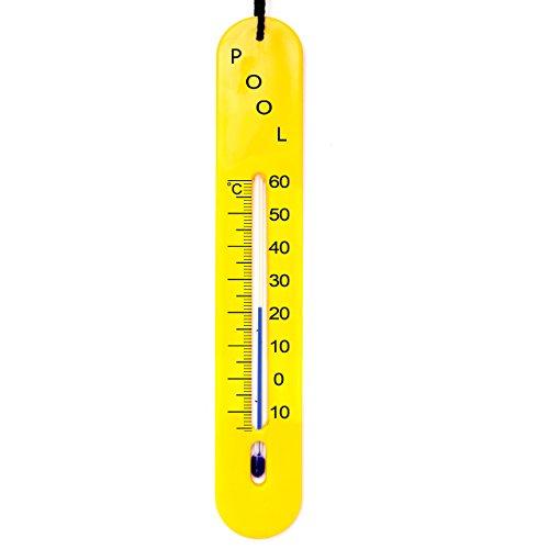 Lantelme 6616 Pool - Teich - Schwimmbad Thermometer Farbe gelb - Analog mit Schnur - Poolthermometer sinkend für Wassertemperatur in der Tiefe