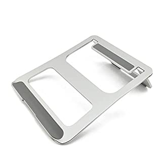 Alxcio Laptop Stand Holder with Lightweight Foldable, Portable Ventilated Desktop Space-saving Design Tray Holder Mount (Silver)