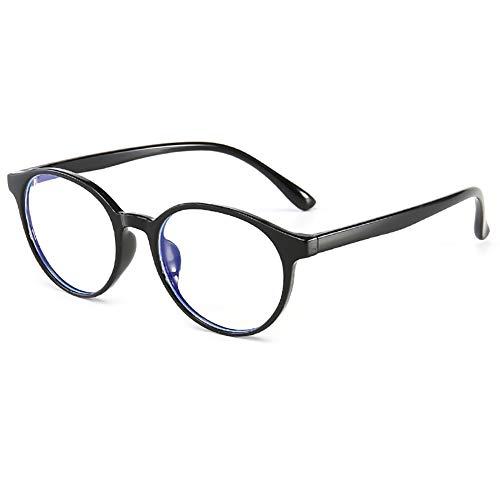 KOOSUFA Kinderbrille Ohne Stärke Blaulichtfilter Rund Brillenfassung Brillengestell Anti Blaulicht Brillen TR90 Rahmen Anti Müdigkeit für Mädchen und Jungen (Schwarz)
