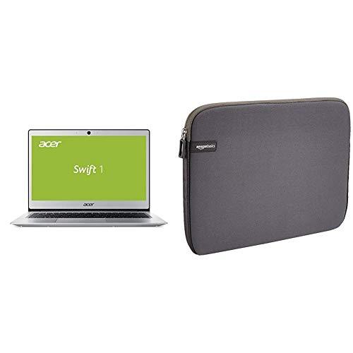 Acer Swift 1 SF113-31-P72F 33,8 cm (13,3 Zoll Full-HD IPS matt) Ultrabook (Intel Pentium N4200, 4GB RAM, 64GB eMMC, Intel HD, Win 10 S) Silber & AmazonBasics Laptop-Schutzhülle,13,3 Zoll, Grau