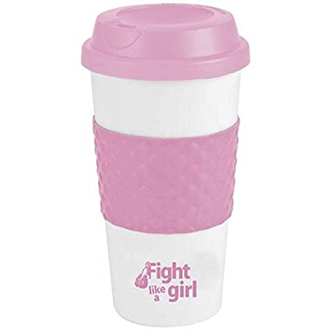 Fight Like a Girl Breast Cancer Awareness Hard Plastic 19 Oz Thermos Tumbler by Artisan Owl