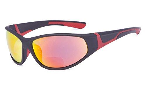 Eyekepper Bifokal Sonnenbrille mit TR90 und Gummirahmen - Sport Stil Sonnenscheinleser(Roter Spiegel, 2.50)