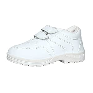 Pollo Boys Vellcro White School Shoe