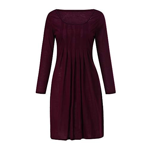 Kleider Damen Pullover Kleid Bluse Elegant Lose Langarm Einfaches Beiläufiges Strickkleid Viskose Jersey Stretch Skaterkleid, Große Größe Solid Color Rundhalsausschnitt Kleid(Rot,XXXX-Large)