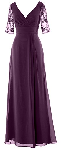 MACloth Women Half Sleeves Long Mother of the Bride Dress V Neck Formal Gown Plum