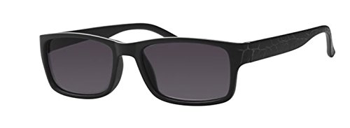 R4806 InFocus Sonnenbrille mit Lesestärke Matt Schwarz Wayfarer Style (1.00, Matt Black, Linse Silver line Smoke Solid)
