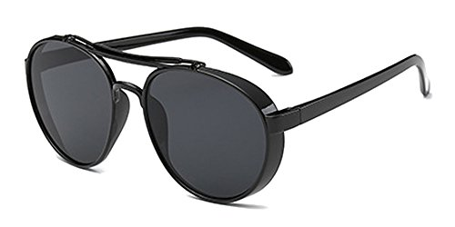 Fuyingda Men & Women Retro Sunglasses Steampunk Style Sunglasses Round Lens