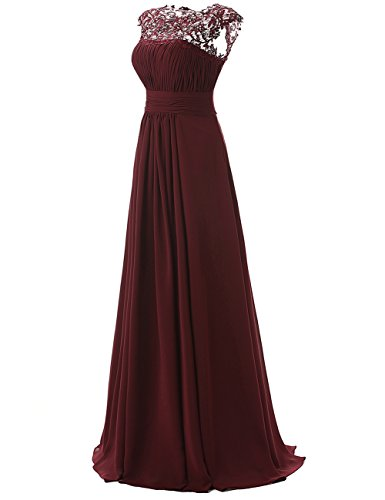 Dresstells, Robe de soirée Robe de demoiselle d'honneur longueur ras du sol forme empire en mousseline dentelle Marine