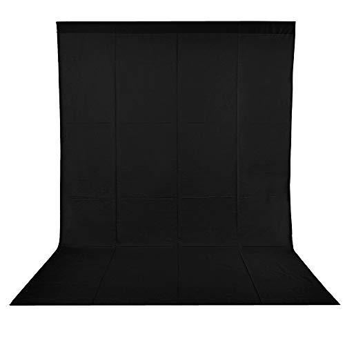 BDDFOTO 1,8 x 2,8m Photo Studio Foto Hintergrund Schwarz 100{edf62c320dfc2cbf53a230962aab26d1c982792d444be76781fc08218592cff6} Reiner Baumwolle Muslin Faltbare Blackscreen Background für Fotografie, Video und Fernsehen (Wiegt ungefähr 700g) - Schwarz