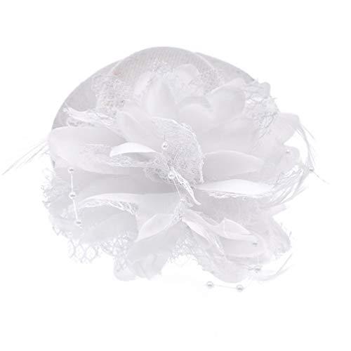 GOUNURE Frauen Lace Wide Brim Fedora Hats Elegante Bowler Cap mit Feder Haarspange für die Abendgesellschaft Satin Wool Cap