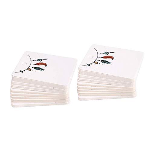 Papier Karten Schmuckdisplay Halter Ohrringe Ohrhaken Karten Hängen Halter Schmuckkarten (100 Stücke) - Drei Federn