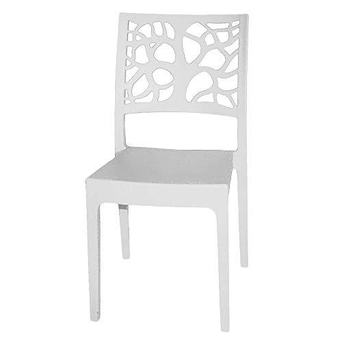 Totò piccinni sedia teti, design impilabile, da interno o esterno 52x46x86cm (bianco, 1)