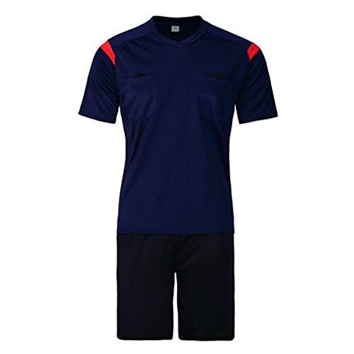1c25a96b0e1 Firelong Sports Referee Jersey Suit Uniform Kit - Shirt + Shorts for Football  Soccer Rugby (Royal Blue