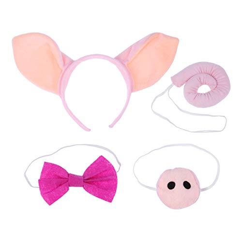 Piggy Kind Miss Kostüm - YeahiBaby 4 stücke Schwein Ohren und Schwanz Set Nette Schwein Stirnband Ohren Nase und Fliege Kinder Party Cosplay Kostüm Kit (Rosa)