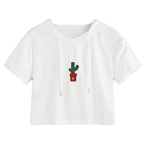 TUDUZ Sommer Damen Kurzarm Oberteile Mode Kaktus Stickerei T-Shirt Bluse Tops Weiß