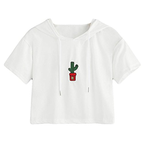 TUDUZ Sommer Damen Kurzarm Oberteile Mode Kaktus Stickerei T-Shirt Bluse Tops  Weiß 08631a229c