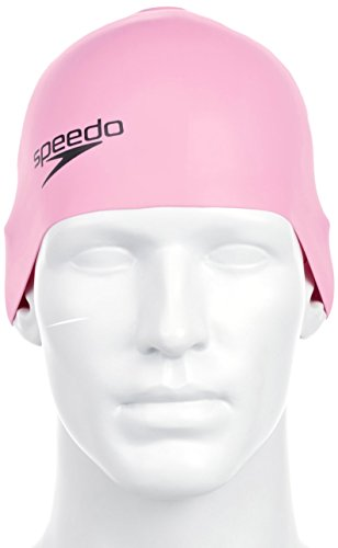 Speedo Ladies Plain Moulded Silicone Swimming Swim Cap Size One Size Pink