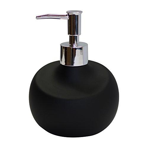 Premium Seifenspender in edlem Design - hochwertig verarbeiteter Hand Seifenbehälter aus Keramik mit Spenderpumpe - rostfreie Pumpe in Edelstahl Optik - ein echter Hingucker in Ihrem Bad (schwarz)