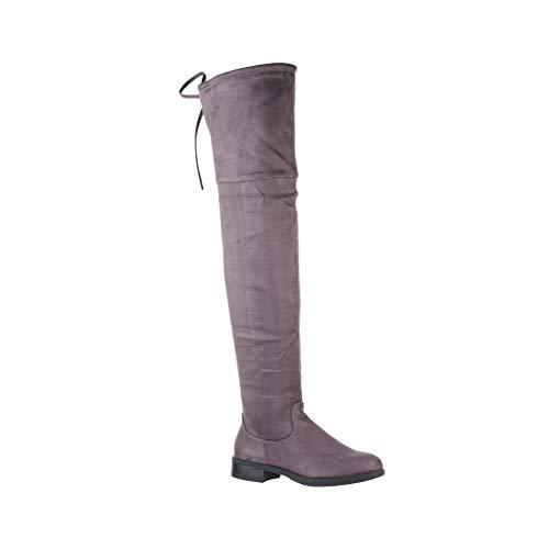 Elara Damen Stiefel | Bequeme Langschaft Overknees | Blockabsatz Wildlederoptik 380-1 Grey-38