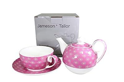 Jameson & Tailor - Ensemble Théière et 4 Tasses en porcelaine brillante, modèle « Les petites fleurs » - Rose - Résistant aux lave-vaisselles et micro-ondes