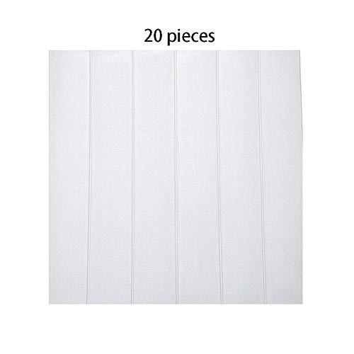 Win-Y 3D Holz Tapete, DIY Schaum Panel weiche Anti-Kollision Schalldämmung Wasserdichter Leicht zu Reinigen Wandpaneele für Schlafzimmer Wohnzimmer moderne tv schlafzimmer wohnzimmer dekor (20, White)