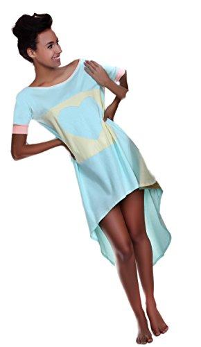 Pigeon lingerie di cotone t-shirt, camicia da notte negligee in raffinati colori pastello in particolare regalo box mint/gelb small