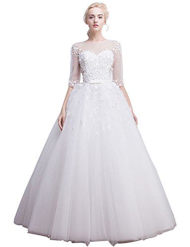 Fanciest Damen Flowers Spitzen Brautkleider with Half Sleeves Bridal Kleider White UK28