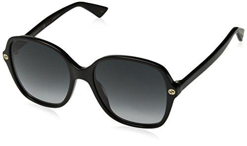 Gucci Damen GG0092S 001 Sonnenbrille, Schwarz (Black/Grey), 55