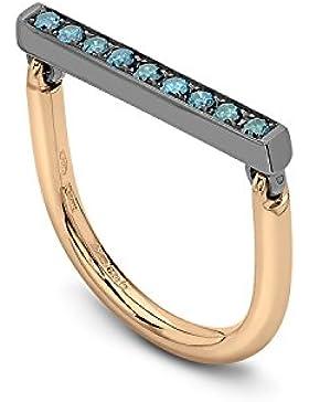 MARRONI Design bewegliche mit Kanten 18kt Polish oxydiert Gold Bar mit Blau Diamanten und 18kt Polish Rot Gold...