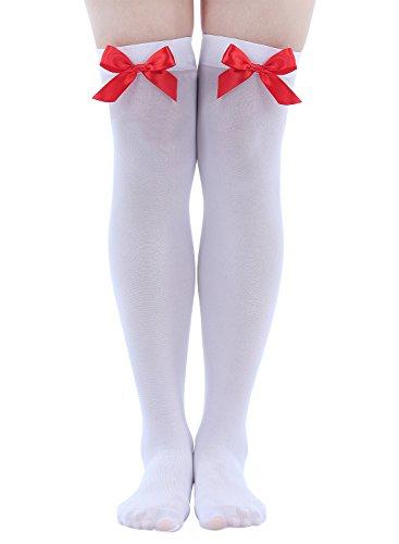 Strümpfe Kniestrümpfe Weiß Mit Roter Schleife Verkleidung Kostüm ()