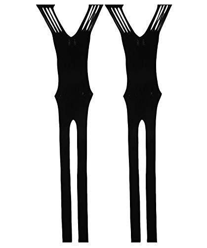 Yulaixuan Damen Netzstrumpfhose Bodysuits Dessous Bodystocking dehnbar Nachthemd 2-Pack (2 schwarz)