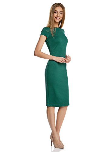 oodji Collection Damen Midi-Kleid mit Rückenausschnitt Grün (6E01N)