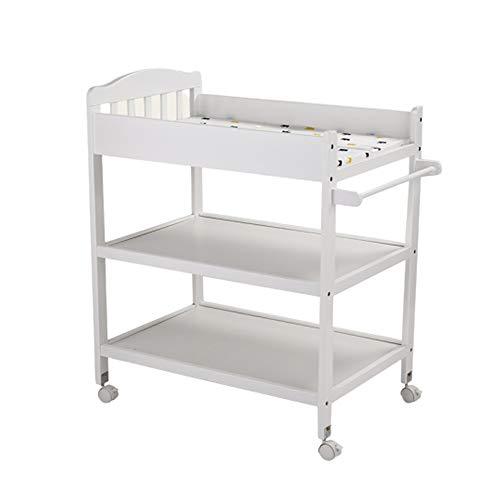 Zcf tavolo per pannolini per bambini fasciatoi for pannolini, rotelle in legno massello con serratura cassettiera fasciatoio fasciatoio multifunzionale fasciatoio 0-3 anni (color : style2)