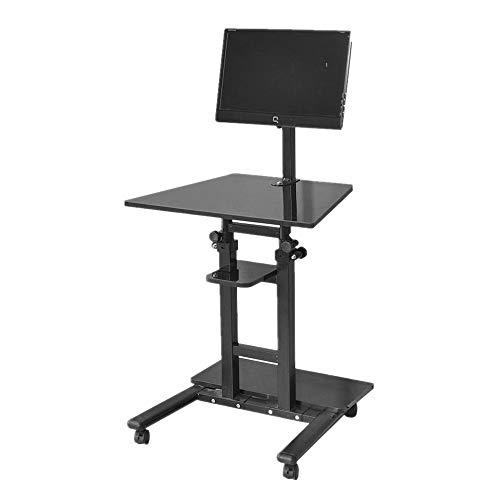 DlandHome Sit-Stand Tavolo del Computer Mobile Regolabile in Altezza 71-110cm Siediti/Stai in Piedi Scrivania Riser Tavolo da Lavoro Workstation Mobile, Nero