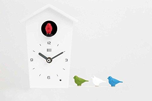 KOOKOO BirdHouse mini weiß Wanduhr mit 12 natürlichen Vogelstimmen aus der Natur oder Kuckuck kleine Kuckucksuhr moderne design Singvögel Uhr