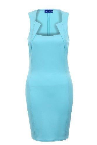 Sapphire - Robe moulante femme col carré effet amincissant Tailles 36 38 40 42 Azur