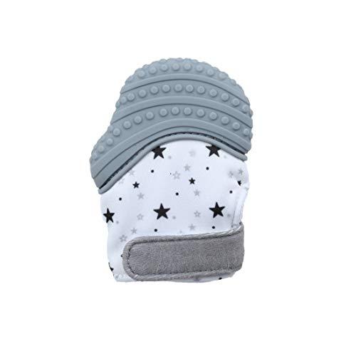 VIVOSUN Baby 1er Zahnen Handschuhe Schmerzlinderung Fäustling BPA Frei Silikon Zähne Beißring Zahnungshilfe für Neugeborenen Sterne Grau