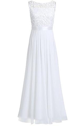 Tiaobug Elegant Chiffon Damen Kleider Lange Brautjungfer Blumenspitze Cocktailkleid Party festlich hochzeit Abendkleid Gr. 34-46 Weiß 46 (Herstellergröße:16)