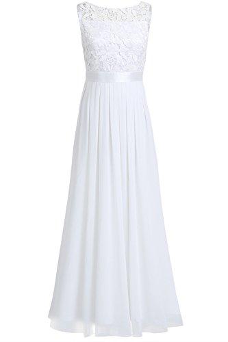 iEFiEL Damen Kleid Festliche Kleider Brautjungfer Hochzeit Cocktailkleid Chiffon Faltenrock Elegant Langes Abendkleid Partykleid Weiß 46