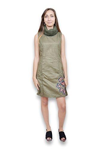 Robe femme sans manche - Robe femme col roulé de la marque SMASH de couleur verte Vert